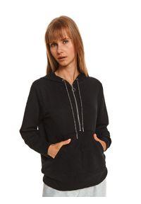 TOP SECRET - Bluza rozpinana damska gładka, z fakturą. Kolor: czarny. Materiał: dzianina. Długość rękawa: długi rękaw. Długość: długie. Wzór: gładki