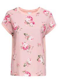 Różowa bluzka bonprix retro, w kwiaty