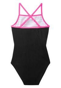 Kostium kąpielowy dziewczęcy bonprix biało-czarno-różowy neonowy. Kolor: biały
