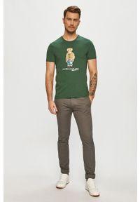 Polo Ralph Lauren - T-shirt. Typ kołnierza: polo. Kolor: zielony. Materiał: dzianina. Wzór: nadruk