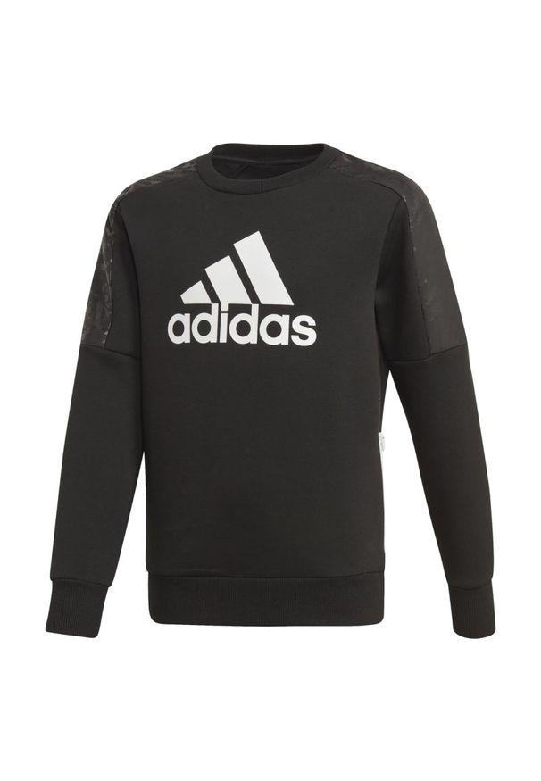 Czarna bluza Adidas sportowa, z nadrukiem