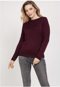 MKM - Sweterek z Ozdobnymi Ściągaczami - Bordowy. Kolor: czerwony. Materiał: akryl, wiskoza