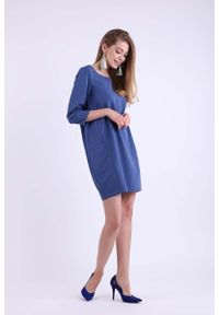 Nommo - Jeansowa Krótka Dzianinowa Sukienka z Kieszeniami. Materiał: jeans, dzianina. Długość: mini