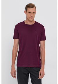 BOSS - Boss - T-shirt bawełniany. Okazja: na co dzień. Kolor: fioletowy. Materiał: bawełna. Wzór: gładki. Styl: casual