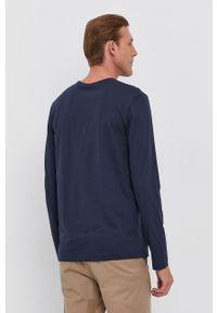 BOSS - Boss - Longsleeve bawełniany. Okazja: na co dzień. Kolor: niebieski. Materiał: bawełna. Długość rękawa: długi rękaw. Wzór: gładki. Styl: casual