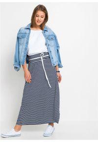 Niebieska spódnica bonprix długa, w paski