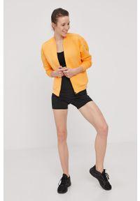 Pomarańczowa bluza rozpinana adidas Performance gładkie, casualowa, bez kaptura