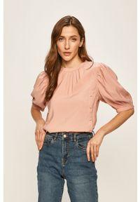 Różowa bluzka Vila elegancka, krótka, z okrągłym kołnierzem
