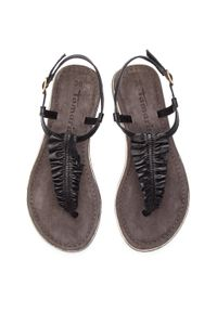 Czarne sandały Tamaris casualowe, z aplikacjami