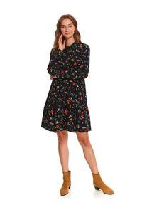 Czarna sukienka TOP SECRET koszulowa, w kwiaty