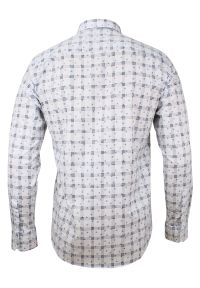 Biała elegancka koszula Rigon w kwiaty, do pracy, długa
