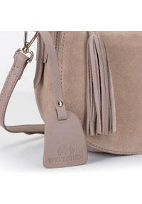 Wittchen - Damska listonoszka saddle bag z zamszu. Kolor: beżowy. Wzór: haft. Dodatki: z haftem. Materiał: zamszowe, skórzane. Styl: elegancki