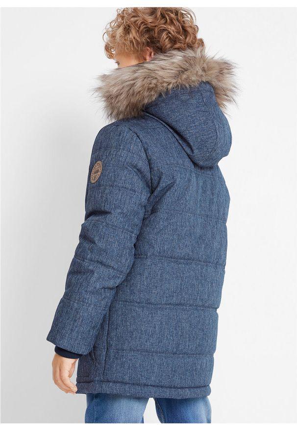 Niebieska kurtka bonprix z kapturem, klasyczna, melanż, na zimę