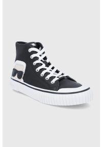 Karl Lagerfeld - Trampki skórzane Kampus II. Nosek buta: okrągły. Zapięcie: sznurówki. Kolor: czarny. Materiał: skóra. Szerokość cholewki: normalna