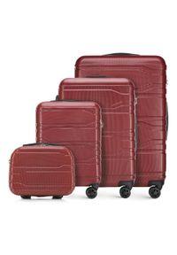 Wittchen - Zestaw walizek z polikarbonu tłoczonych. Kolor: czerwony. Materiał: guma