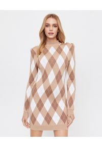 Balmain - BALMAIN - Sukienka mini w romby. Typ kołnierza: golf. Kolor: beżowy. Materiał: tkanina. Typ sukienki: dopasowane. Długość: mini