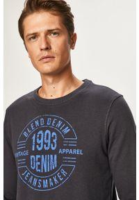 Niebieska bluza nierozpinana Blend z nadrukiem, bez kaptura