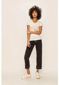 Biała bluzka Pepe Jeans casualowa, na co dzień, z nadrukiem