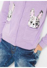 Fioletowy sweter bonprix z aplikacjami