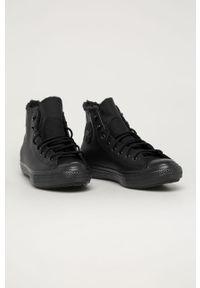 Czarne wysokie trampki Converse na sznurówki, z okrągłym noskiem, z cholewką