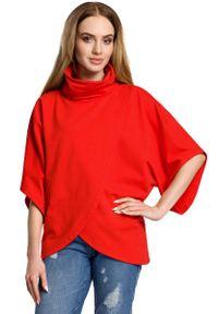 MOE - Czerwona Oversizowa Bluzka Kopertowa z Golfem. Typ kołnierza: golf. Kolor: czerwony. Materiał: bawełna, elastan