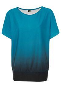 Shirt off-shoulder bonprix niebieski karaibski - czarny. Kolor: niebieski