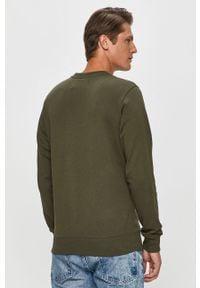 Oliwkowa bluza nierozpinana Calvin Klein Jeans bez kaptura, z nadrukiem, na co dzień