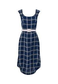 CATERINA - Lniana sukienka w kratę z paskiem. Kolor: niebieski. Materiał: len. Styl: elegancki. Długość: midi