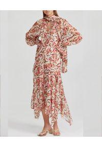 ACLER - Wzorzysta sukienka Cathedral. Kolor: beżowy. Materiał: materiał. Długość rękawa: na ramiączkach. Wzór: nadruk. Typ sukienki: rozkloszowane, asymetryczne. Długość: midi