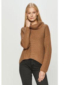 Brązowy sweter only z golfem, długi, z długim rękawem