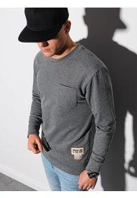 Ombre Clothing - Bluza męska bez kaptura B1149 - czarna - XXL. Typ kołnierza: bez kaptura. Kolor: czarny. Materiał: jeans, poliester, materiał, bawełna. Wzór: melanż