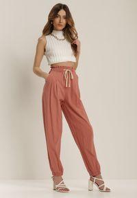 Różowe spodnie z wysokim stanem Renee