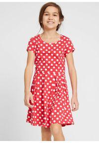 Sukienka dziewczęca shirtowa w groszki bonprix czerwono-biały w groszki. Kolor: czerwony. Wzór: grochy #4