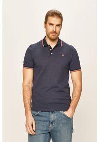 Niebieska koszulka polo Premium by Jack&Jones na co dzień, casualowa, krótka, polo