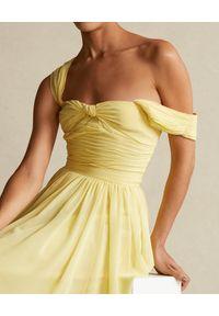 Ralph Lauren - RALPH LAUREN - Żółta sukienka na ramiączkach. Typ kołnierza: polo. Kolor: żółty. Materiał: materiał. Długość rękawa: na ramiączkach #5