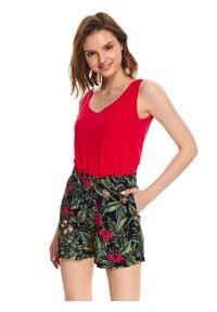 TOP SECRET - T-shirt bez rękawów damski gładki. Kolor: różowy. Materiał: tkanina, bawełna. Długość rękawa: bez rękawów. Wzór: gładki