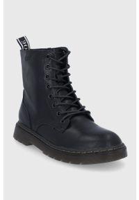 GOE - Botki skórzane. Nosek buta: okrągły. Zapięcie: sznurówki. Kolor: czarny. Materiał: skóra