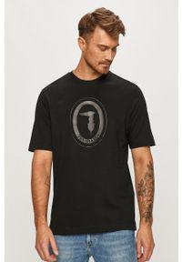 Czarny t-shirt Trussardi Jeans z nadrukiem, z okrągłym kołnierzem