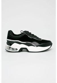 Czarne buty sportowe Karl Lagerfeld na platformie, z cholewką, na sznurówki