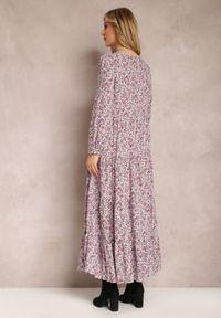 Renee - Fioletowa Sukienka Feanyore. Kolor: fioletowy. Wzór: kwiaty, kolorowy. Długość: maxi