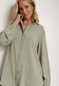 Renee - Zielona Koszula Deledeia. Kolor: zielony. Długość: długie. Wzór: gładki, aplikacja