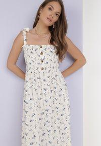Born2be - Kremowa Sukienka Amanoire. Kolor: beżowy. Długość rękawa: na ramiączkach. Wzór: kwiaty, aplikacja. Styl: wakacyjny. Długość: maxi