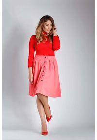 Różowa spódnica rozkloszowana Nommo plus size