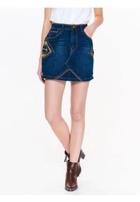 Niebieska spódnica TROLL na wiosnę, krótka, z haftami, casualowa