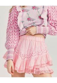 LOVE SHACK FANCY - Różowa spódnica Briella. Kolor: wielokolorowy, różowy, fioletowy. Materiał: koronka, bawełna. Wzór: ażurowy, koronka