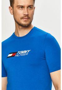 Niebieski t-shirt TOMMY HILFIGER na co dzień, casualowy, z nadrukiem