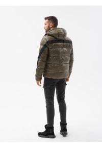 Ombre Clothing - Kurtka męska pikowana C503 - oliwkowa - XXL. Kolor: oliwkowy. Materiał: poliester