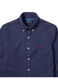 Ralph Lauren - RALPH LAUREN - Granatowa koszula Slim Fit. Typ kołnierza: polo. Kolor: niebieski. Materiał: jeans. Długość rękawa: długi rękaw. Długość: długie. Wzór: haft. Styl: klasyczny