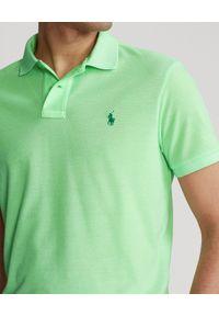 Ralph Lauren - RALPH LAUREN - Pastelowa koszula The Earth Custom Slim Fit. Typ kołnierza: polo. Kolor: zielony. Materiał: prążkowany, poliester. Długość: długie. Wzór: ze splotem, haft