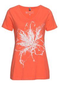 Shirt, krótki rękaw bonprix łososiowy pomarańczowy z nadrukiem. Kolor: pomarańczowy. Długość rękawa: krótki rękaw. Długość: krótkie. Wzór: nadruk. Styl: elegancki